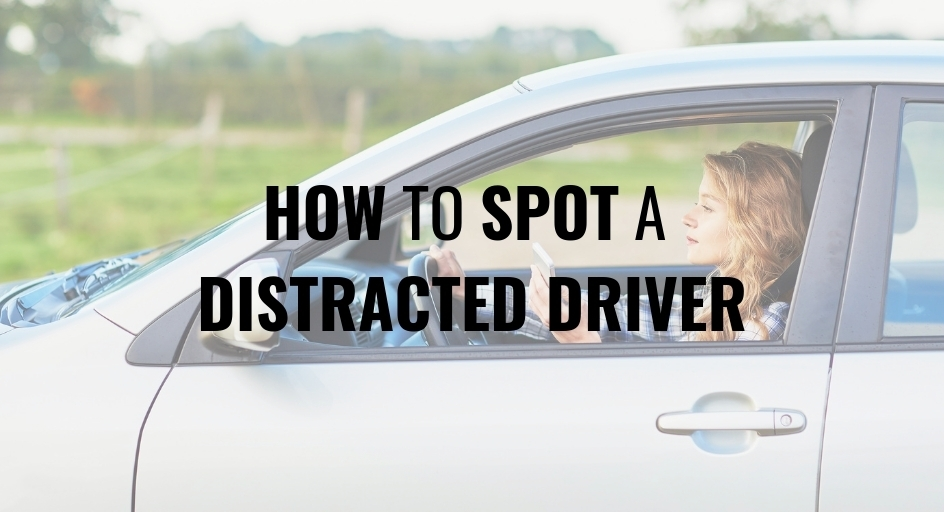 blog image: young girl using cell phone while driving; blog title: How to spot a distracted driver
